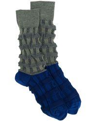 Issey Miyake Chaussettes colour block - Bleu