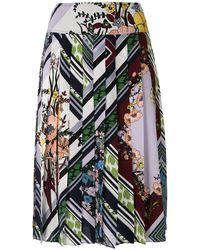 Tory Burch Falda plisada con motivo floral - Multicolor