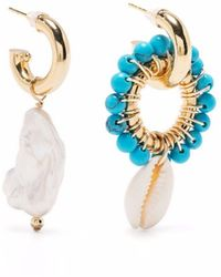 Eliou Aros asimétricos con turquesas y perla - Metálico