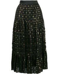 Temperley London ゴールドエンブロイダリー シフォンミディスカート - ブラック