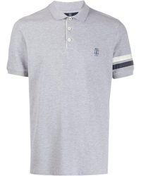 Brunello Cucinelli Рубашка-поло С Вышитым Логотипом - Серый