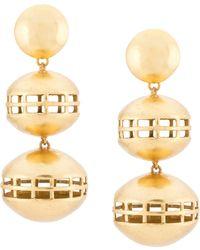 Natori Double Cage Clip-on Earrings - Metallic