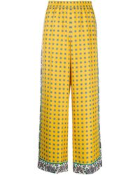 ESCADA Silk Cropped Palazzo Trousers - Yellow