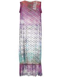 Aries Robe mi-longue à en dentelle fleurie - Multicolore