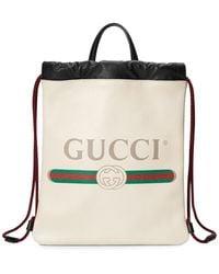 Gucci Print Small Drawstring - White
