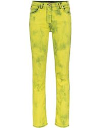 Versace Acid Wash Logo Label Skinny Jeans - Yellow