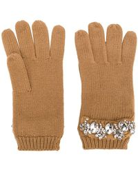 Twin Set - Crystal Embellished Gloves - Lyst