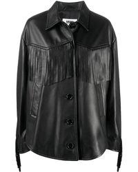 MM6 by Maison Martin Margiela オーバーサイズ レザージャケット - ブラック