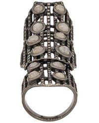 Loree Rodkin Embellished Armour Ring - Black