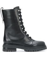 Sergio Rossi Lace-up Combat Boots - Black
