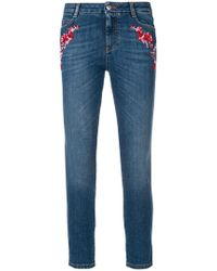 Ermanno Scervino | Floral Embroidered Cropped Skinny Jeans | Lyst
