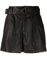 P.A.R.O.S.H. Belted Leather Shorts - Black