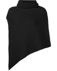 Pringle of Scotland Ribbed Knit Poncho - Black