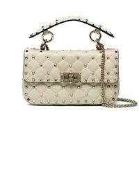Valentino - Cream Rockstud Quilted Shoulder Bag - Lyst