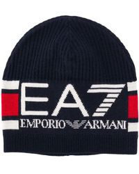 EA7 ロゴ ビーニー - ブルー