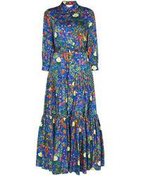 Borgo De Nor Clarissa フローラル シャツドレス - ブルー