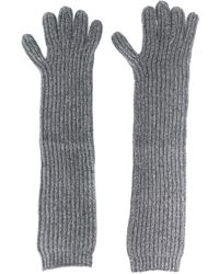 N.Peal Cashmere Long Ribbed Gloves - Grey