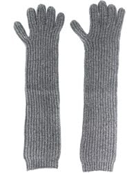 N.Peal Cashmere Long Ribbed Gloves - Gray