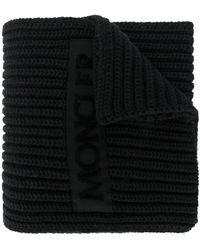 Moncler Ribbed logo scarf - Noir