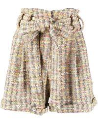 Amen High-waisted Tweed Shorts - Yellow