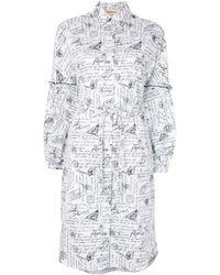 PORTSPURE プリント シャツドレス - ホワイト