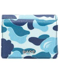 A Bathing Ape Logo-plaque Camouflage Leather Wallet - Blue