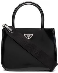 Prada Bolso shopper con logo triangular - Negro