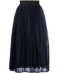 Edward Achour Paris Pleated Midi Skirt - Blue