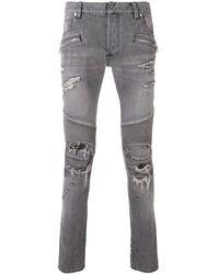 Balmain - Jean skinny à détails nervurés - Lyst