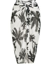 Brigitte Bardot Jupe à imprimé palmier - Blanc