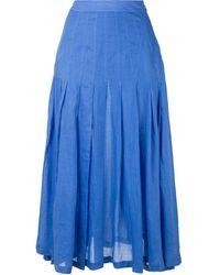 Three Graces London ハイウエスト スカート - ブルー