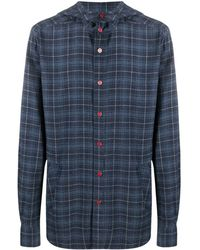 Kiton チェック フーデッドシャツ - ブルー