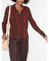 EFTYCHIA Stripe-pattern Knitted Shirt - Brown
