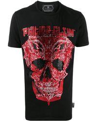 Philipp Plein T-Shirt mit verziertem Totenkopf - Schwarz