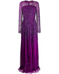 ESCADA Sequin Embroidered Sheer Evening Dress - Purple
