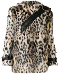 Versace Двубортная Шуба Из Искусственного Меха С Леопардовым Принтом - Белый