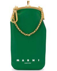 Marni ロゴ スマホケース - グリーン