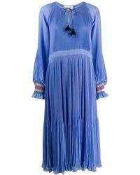 10 Crosby Derek Lam Nemea Pleated Maxi Dress - Blue