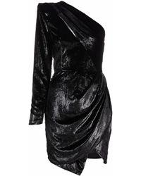Les Hommes Velvet One-shoulder Mini Dress - Black