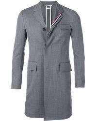 Thom Browne Rwb Stripe Unconstructed Overcoat - Grey