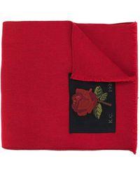 Kent & Curwen Rose Patch Scarf - Red
