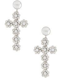 Philipp Plein Pendientes con colgante de cruz con cristales - Metálico