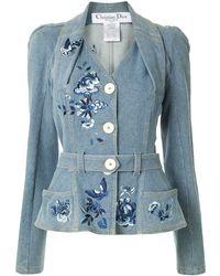Dior Veste en jean à épaules structurées - Bleu