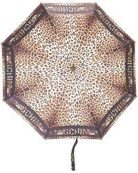 Moschino Regenschirm mit Leoparden-Print - Schwarz