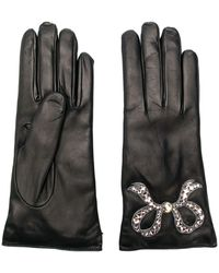 Gucci Leather Gloves With Bow - Zwart