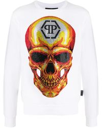 Philipp Plein Embellished Skull Sweatshirt - White