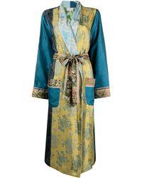 Pierre Louis Mascia Panelled Belted Coat - Blue