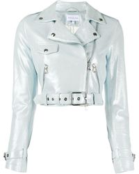 Patrizia Pepe Cropped Biker Jacket - Blue