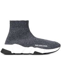 Balenciaga Speed High-top-sneakers Aus Metallic-stretch-strick Mit Logostickerei - Schwarz