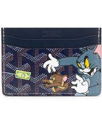 Goyard Tom And Jerry Print Card Holder - Blue